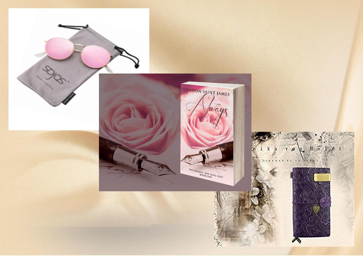 London Saint James Giveaway: singed paperback of Always (Two Hearts, One Soul Duet: Book One) as well as a handmade leather bound travel journal, and a pair of pink mirrored Sojo shades!